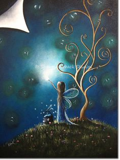 ORIGINAL FAIRY PAINTING by Shawna Erback Art by shawnaerback, $400.00