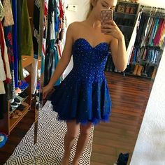 MAKE OFFERS✨BEAUTIFUL✨ navy blue prom dress! Beautiful sequined and beaded detailing around corset and flowy around the waist! Dresses Prom