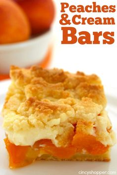 You will find the Peaches and Cream Bars loaded with tons of great flavor. The crust combined with a peach and cream cheese filling makes for an amazing sum