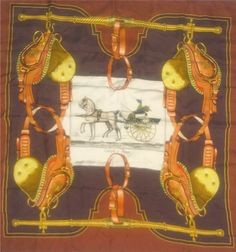 Hermes Scarf Vintage Equestrian Horse Theme Authentic Brown Silk Large Square on Etsy, $230.00