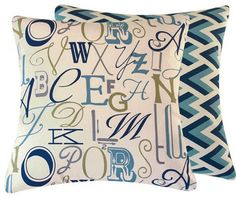 Alphabet Soup Decorative Throw Pillow l Chloe and Olive contemporary pillows