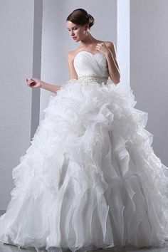 Ball Gown Sweetheart Ivory Bridal Dresses sfp0168 - http://www.shopforparty.com/ball-gown-sweetheart-ivory-bridal-dresses-sfp0168.html - COLOR: Ivory; SILHOUETTE: Ball Gown; NECKLINE: Sweetheart; EMBELLISHMENTS: Beading , Sash , Ruched; FABRIC: Organza -