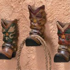 3 Cowboy Western Boots Hook Rack Home Wall Decor