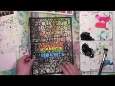 Using a stencil over oil pastels by Carolyn Dube