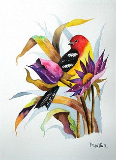 An Original Fine Art Gallery by Daily Paintworks Watercolor Art Paintings, Watercolor Images, Watercolor Bird, Watercolor Animals, Flower Paintings, Watercolors, Bird Art, Animal Drawings, Lovers Art