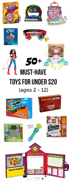 Best inexpensive toys under $20 - Over 50 of the hottest toys for birthday parties and Christmas that are under $20. All of the toys are described in detail and arranged by age. Pin this list and refer to it anytime you have a kids' birthday party to shop for!