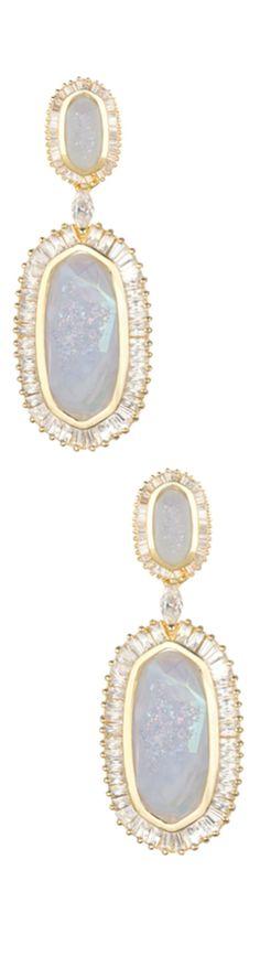 Kendra Scott Baguette-Trim Oval Druzy Drop Earrings