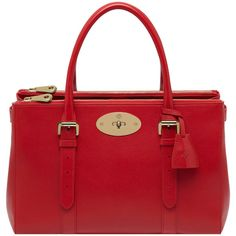Bayswater Double Zip Tote Bright Red Shiny Goat