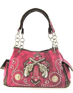Hot Pink Western Style Purse with Cross and Guns