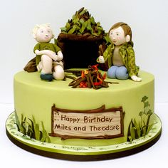 A cake for two little boys having a camping party.
