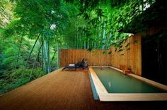 japan - pool in bamboo wood Japanese Hot Springs, Japanese Bath, Holiday Places, Japanese Architecture, Outdoor Swimming Pool, Hotels And Resorts, Nice View, Landscape Design, Places To Go