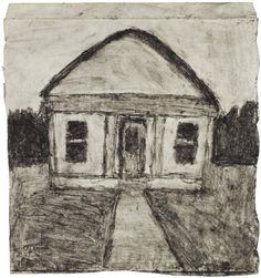 James Castle (1899-1977): Untitled (recto), n.d., found paper, soot, 8 5/8 x 8 1/8 in.