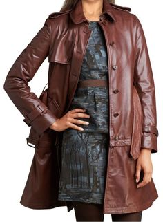 Classic Leather Trench  Coat Long Premium Grade Lambskin Leather  #Glamoraa #Military #Casual