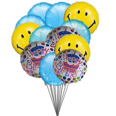 Smiley Blue Birthday Balloons Send Your Wishes By Sending Colour For The Mylar 6 Latex Deliver In This