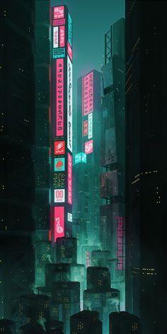 Aesthetic Wallpaper Hd, City Wallpaper, Anime Scenery Wallpaper, Dark Wallpaper, Aesthetic Backgrounds, Future Wallpaper, Cyberpunk Aesthetic, Cyberpunk City, Futuristic City