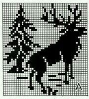 Elk chart for knitting (use for washcloth! Fair Isle Knitting Patterns, Knitting Charts, Knitting Designs, Knitting Stitches, Funny Cross Stitch Patterns, Cross Stitch Charts, Crochet Cross, Crochet Chart, Fillet Crochet