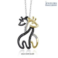 Genuine Black & White Diamond Accent Double Giraffe Pendant in Sterling Silver at 90% Savings off Retail!