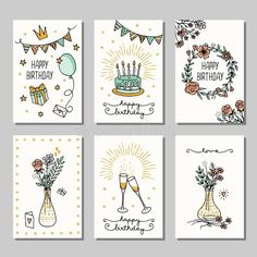 Happy Birthday Doodles, Happy Birthday Drawings, Happy Birthday Cards Handmade, Creative Birthday Cards, Birthday Cards For Mom, Bday Cards, Drawn Birthday Cards, Happy Birthday Card Design, Birthday Card Template