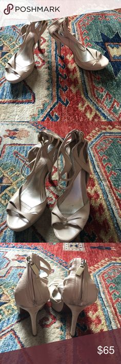 NEW LISTING - Daslu platform heels Beautiful handmade leather heels with zipper back. High end brand of Brazil so bottom of shoe says 36 but sizing is different from European so this fits like a 38/7.5 Scuffs and wear to back of shoe (see photo). Anthropologie marked for exposure. Anthropologie Shoes Heels