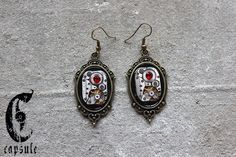 Steampunk Neo Victorian Bronze Cameo Earrings with Antique Etched Striped Watch Movement with Red Swarovski Crystal by CapsuleCreations on Etsy