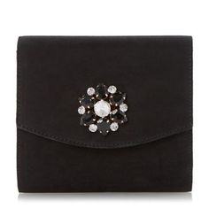 Head Over Heels by Dune Black brooch detail fold over clutch bag- at Debenhams.com