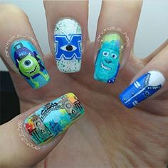 Monsters inc. Nails oh my gosh who can do this for me?! #amazing #myobsession #iloveit