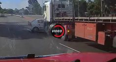 Semi Truck Fails To Notice Car While Changing Lanes Accident Ensues
