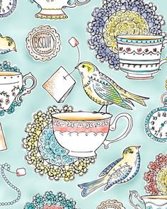 little birds vintage tea party illustration make great print on fabric for vintage swing dress Art And Illustration, Pretty Patterns, My Tea, Time Art, Textures Patterns, Painting, Tea Time, Tea Pots, Art Pieces