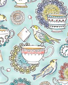 Tea Time wallpaper with birds