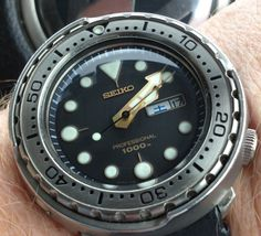 Seiko 6309-7040 modded with a 1000m Tuna dial and hands. Original case machined to take a shroud and called the TST :)