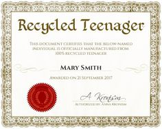 recycled teenager certificate customizable with the free online certificate maker