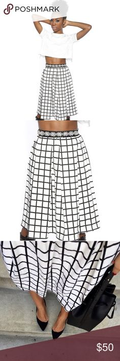 "windowpane skirt wore a few times. waist 12.5"" Skirts"