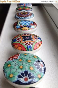 This 12 drawer cabinet knobs wooden knobs hand decorated (decoupaged) is just one of the custom, handmade pieces you'll find in our dressers & drawers shops. Mexican Kitchen Decor, Mexican Kitchens, Mexican Hacienda Decor, Boho Kitchen, Parrilla Interior, Organize Life, Kitchen Cabinet Knobs, Kitchen Cabinets, Talavera Pottery