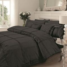 AR'S Quality Embroidered Hamlet Duvet/Quilt Cover Bedding Set With Pillowcases in Single, Double, king & Super King Sizes (King, Black) Gold Bedding Sets, Matching Bedding And Curtains, Duvet Sets, Duvet Cover Sets, Pink Bedding, Velvet Duvet, Black Duvet Cover, 3d Christmas, House Beds