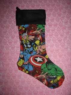 AVENGERS Christmas Stocking, Holiday Decor, Comic Superhero Villain Wolverine Thor Hulk Iron Man Captain America on Etsy, $16.00