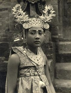 Indonesia | Portrait of a young girl taken in ca. 1940s | Photographer unknown