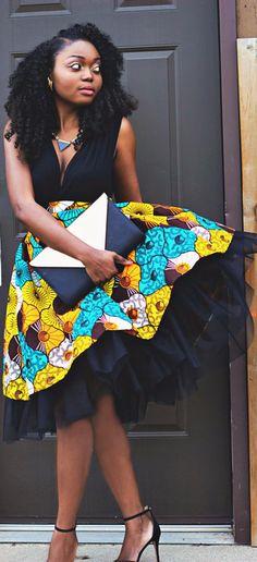 Ankara African Wax Print High Waist Tulle Gather Skirt. This is a high waist gather skirt made out of ankara african print fabric and a tulle fabric. (affiliate)