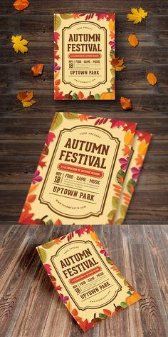 Autumn Festival Flyer Template AI, PSD - A4 #unlimiteddownloads