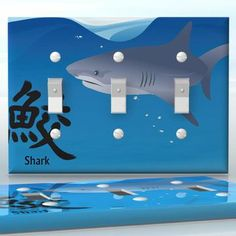 DIY Do It Yourself Home Decor - Easy to apply wall plate wraps | Japanese Symbol - Shark  Shark fin and symbol  wallplate skin sticker for 3 Gang Toggle LightSwitch | On SALE now only $5.95