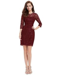 52dd2f83a3 Cocktail Dresses Ever Pretty EP03792 Special Occasion Fashion Women Long  Sleeve Slim Fit Elegant Lace 2018 Cocktail Dresses