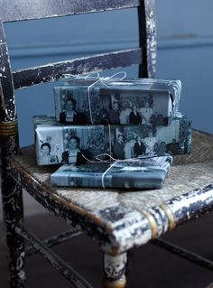 For smaller gifts: find all the old photos, line them up on a xerox machine or scanner, and print out for your own wrapping paper.