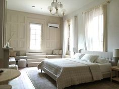 Serene light colored airbnb in Philadelphia designed by Jersey Ice Cream Co