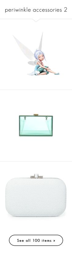 """""""periwinkle accessories 2"""" by srta-sr ❤ liked on Polyvore featuring smrdisneyfairies, disney, fairies, bags, handbags, clutches, blue handbags, mint green purse, lucite purse and mint purse"""