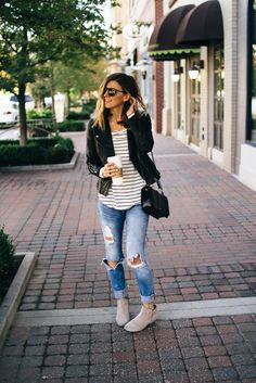 Faux Leather Jacket $90 here Striped High Low Tee $18 here Military Jacket $98 here Jeans $88 here Booties by…