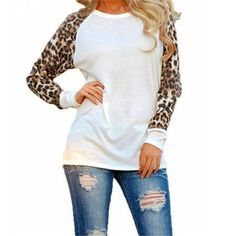 Take a walk on the wild side with this gorgeous white leopard top! Featuring a white bodice with leopard sleeves this is sure to become one of your favorites. We also have this available in Black here