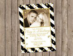 Black and White Striped Wedding Invitation with Gold Confetti - printable 5x7