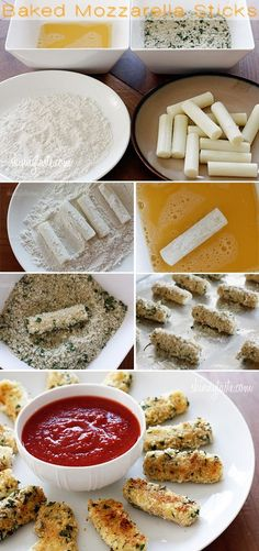 baked mozzarella sticks and 24 other healthy alternatives to chips and fries. only made the baked mozzarella sticks Think Food, I Love Food, Good Food, Yummy Food, Healthy Food, Yummy Snacks, Appetizer Recipes, Snack Recipes, Cooking Recipes