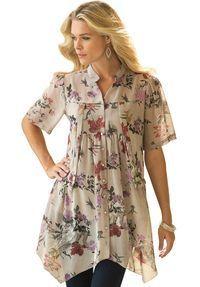 Plus Size Floral Blouse - blouse kopen, ladies chiffon blouse, white blouse short sleeve *ad Fashion Mode, Modest Fashion, Fashion Outfits, Plus Size Shirts, Plus Size Tops, Modelos Plus Size, Floral Tops, Floral Blouse, Dress Patterns