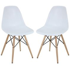White Mid-centry Pyramid Base Dining Chairs (Set of 2) | Overstock.com Shopping - The Best Deals on Dining Chairs