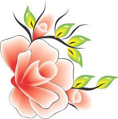 Flor Rosa com amarelo verde para adesivo artesanal